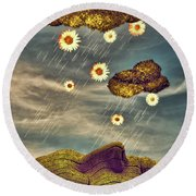 Just Another Summer Rainy Day Round Beach Towel