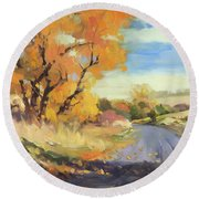 Round Beach Towel featuring the painting Just Around The Corner by Steve Henderson
