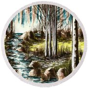 Just Around The Riverbend  Round Beach Towel