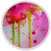 Round Beach Towel featuring the painting Just As I Am by Tracy Bonin