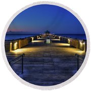 Round Beach Towel featuring the photograph Just Before Dawn Folly Beach Pier Charleston Sc Sunrise Art by Reid Callaway