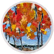 Just Beyond The Trees Round Beach Towel