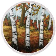 Just Birches Round Beach Towel by Inese Poga