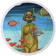 Just Breathe Round Beach Towel by Leah Saulnier The Painting Maniac