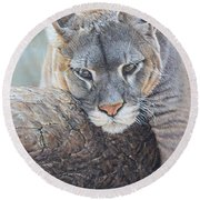 Round Beach Towel featuring the painting Just Chilling by Alan M Hunt