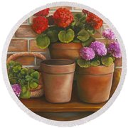 Round Beach Towel featuring the painting Just Geraniums by Marlene Book