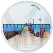 Hanging Out On The Pier Round Beach Towel