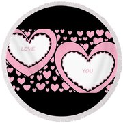 Just Hearts 2 Round Beach Towel