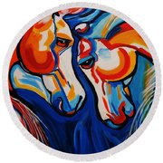 Just Horsing Around Round Beach Towel by Nora Shepley
