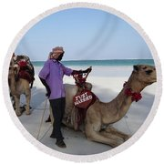 Just Married Camels Kenya Beach 2 Round Beach Towel