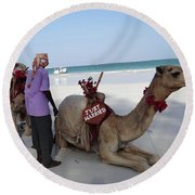 Just Married Camels Kenya Beach Round Beach Towel