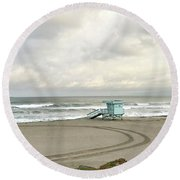 Just Passing By Round Beach Towel