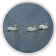 Triple Pelicans Lake John Swa Co Round Beach Towel