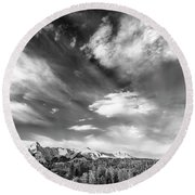 Just The Clouds Round Beach Towel