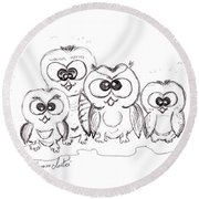 Just The Four Of Us Round Beach Towel