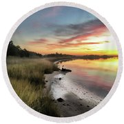 Just The Two Of Us At Sunset Round Beach Towel