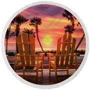 Round Beach Towel featuring the photograph Just The Two Of Us by Debra and Dave Vanderlaan