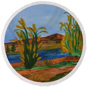 Just This Side Of The River Round Beach Towel by Maria Urso