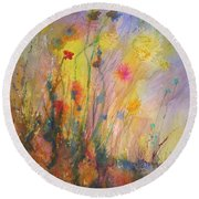 Just Weeds Round Beach Towel by Mary Schiros