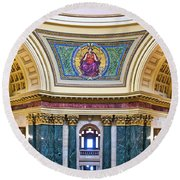 Justice Mural - Capitol - Madison - Wisconsin Round Beach Towel