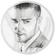 Justin Timberlake Drawing Round Beach Towel