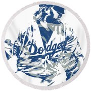 Justin Turner Los Angeles Dodgers Pixel Art 15 Round Beach Towel