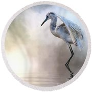 Juvenile Heron Round Beach Towel by Cyndy Doty