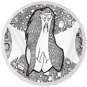 Kabuki Spaceghost Round Beach Towel by Uncle J's Monsters