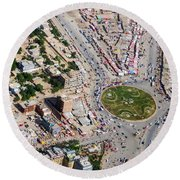 Kabul Traffic Circle Aerial Photo Round Beach Towel
