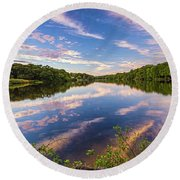 Kahler's Pond Clouds Round Beach Towel
