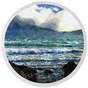 Round Beach Towel featuring the digital art Kaikoura Seascape by Kai Saarto