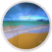 Seascape, Kailua - Lanikai, Oahu, Hawaii Round Beach Towel