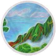 Kalalau Mists Round Beach Towel