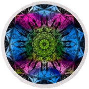 Kaleidoscope - Colorful Round Beach Towel
