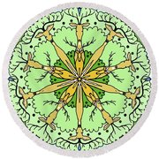 Kaleidoscope Deer Round Beach Towel