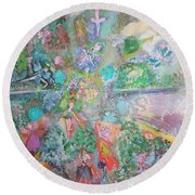 Round Beach Towel featuring the painting Kaleidoscope Fairies Too by Judith Desrosiers