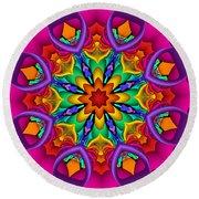 Kaleidoscope Flower 01 Round Beach Towel