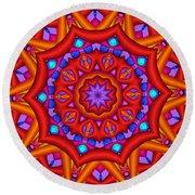 Kaleidoscope Flower 02 Round Beach Towel