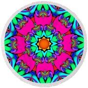 Kaleidoscope Flower 03 Round Beach Towel