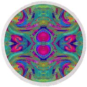 Kaleidoscope Heart Round Beach Towel