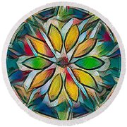 Kaleidoscope In Stained Glass Round Beach Towel