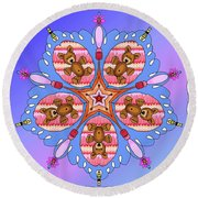 Kaleidoscope Of Bears And Bees Round Beach Towel