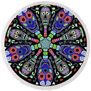 Kaleidoscope Of Skulls Round Beach Towel