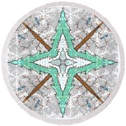 Kaleidoscope Of Winter Trees Round Beach Towel