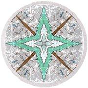 Kaleidoscope Of Winter Trees Round Beach Towel by Debra Baldwin