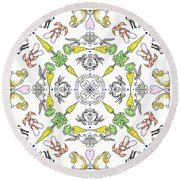 Kaleidoscope Rabbits Round Beach Towel
