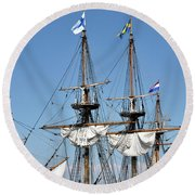 Kalmar Nyckel - Docked In Lewes Delaware Round Beach Towel by Brendan Reals