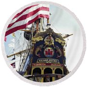 Kalmar Nyckel Tall Ship Round Beach Towel