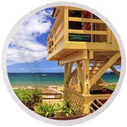 Round Beach Towel featuring the photograph Kamaole Beach Lifeguard Tower by James Eddy