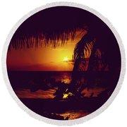 Kamaole Tropical Nights Sunset Gold Purple Palm Round Beach Towel by Sharon Mau